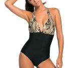 Light Camouflage Print Black Body One-piece Swimwear