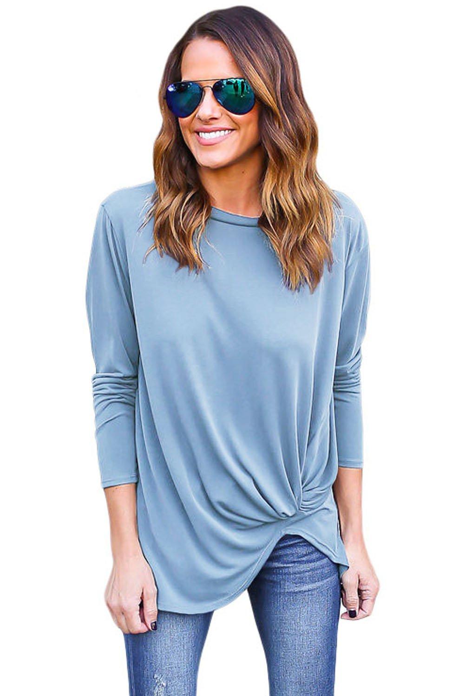 Blue Long Sleeves Drape Top
