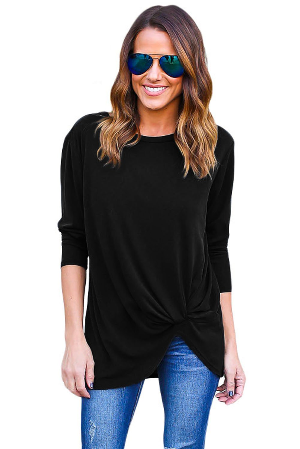 Latest Black Long Sleeves Drape Top Online