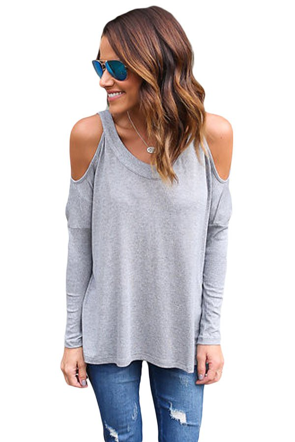 Grey Long Sleeve Relaxed Fit Cold Shoulder Top