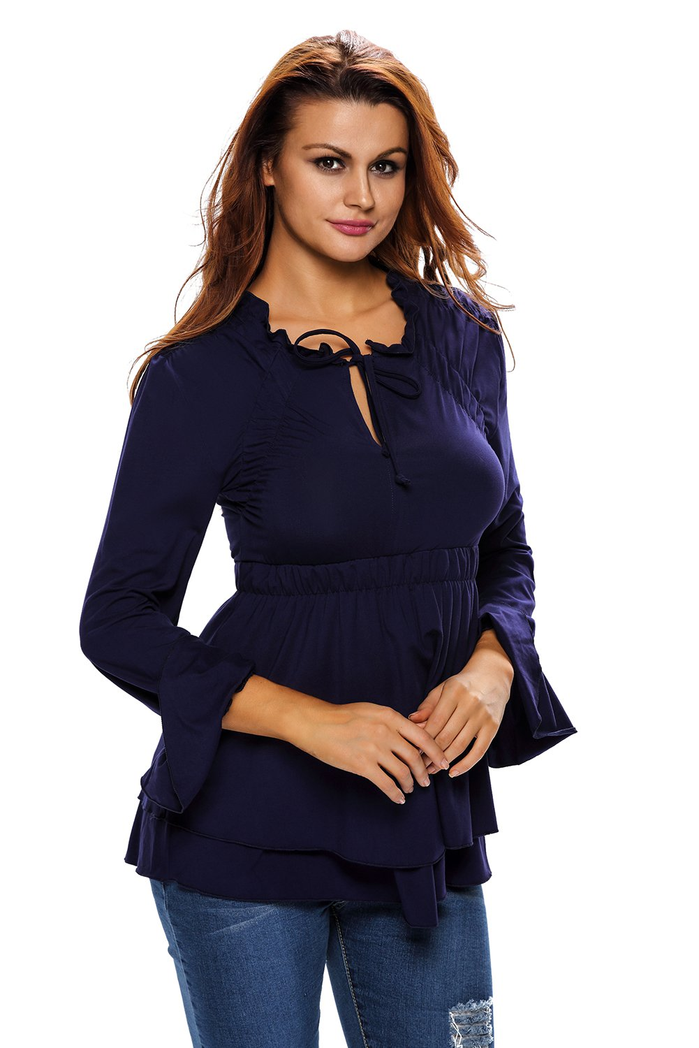 Navy Drawstring V Neck Elastic Long Sleeve Top