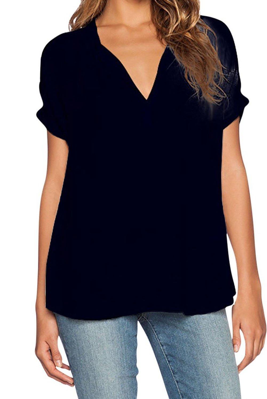 Black V Neck Short Sleeve Oversize Chiffon Blouse