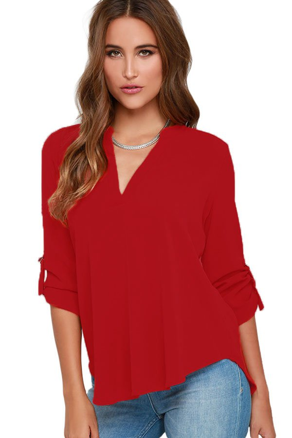 Wine V Neck Loose Fitting Chiffon Blouse