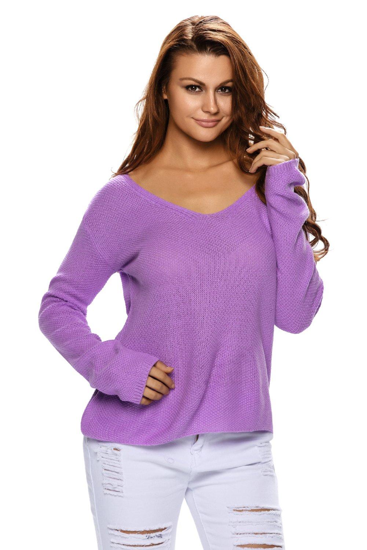 Purple Knitted Long Sleeve Plunge Jumper
