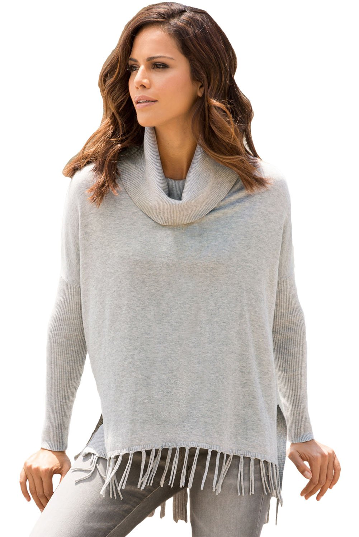 Gray Turtleneck Fringe Hemline Tunic Sweater