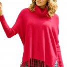 Red Turtleneck Fringe Hemline Tunic Sweater