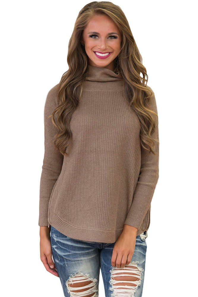 Khaki High Neck Pullover Side Zipped Sweater Top