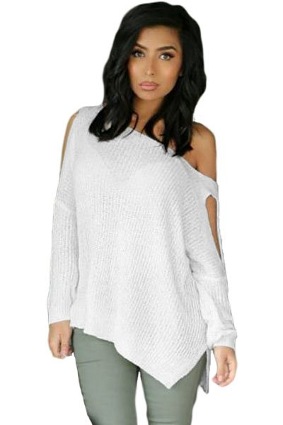 White Long Sleeve Slit Arm and Side Ribbed Knit Top