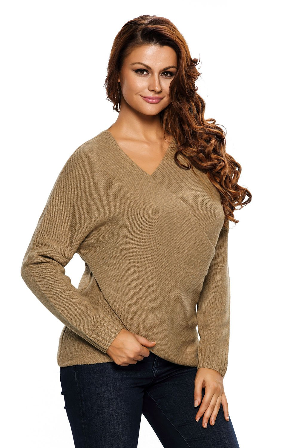 Khaki Long Sleeve Chunky Cross Wrap V Neck Tunic Pullover Sweater