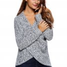 Long Sleeve Chunky Cross Wrap V Neck Tunic Pullover Sweater