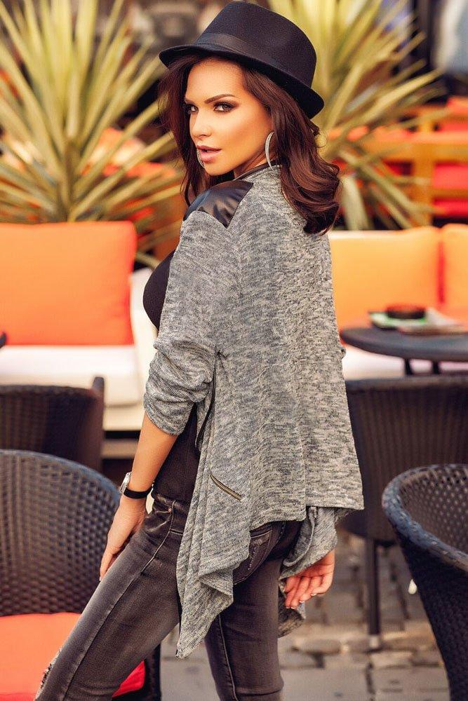 Leather Shoulder Patch Asymmetric Cardigan