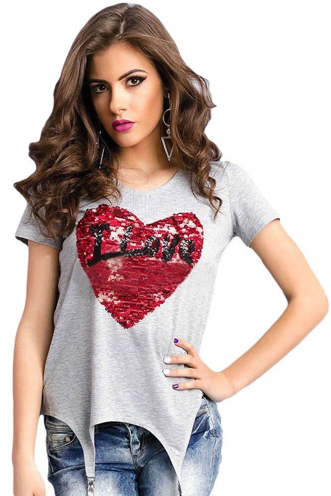 Stunning Sequined Heart Grey Garter T-shirt