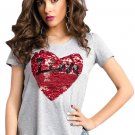 Stunning Sequined Heart Grey Garter T-shirt