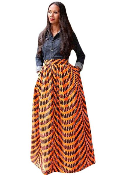 Yellow African Print Maxi Skirt