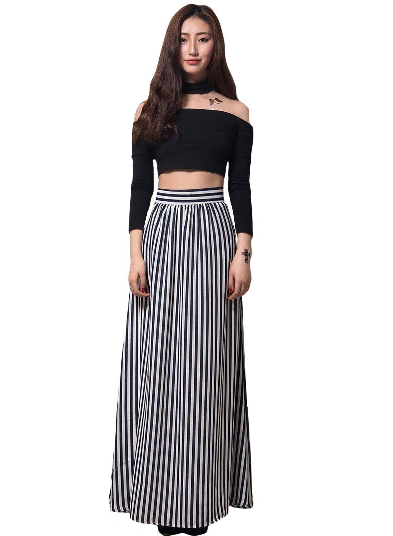 Black White Stripes Adult Maxi Skirt