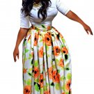Orange Flower African Print Navy Maxi Skirt