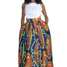 Abstract Floral African Print Navy Maxi Skirt