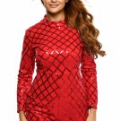 Red Diamond Sequins Long Sleeves Romper