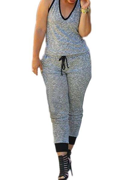 Grey Drawstring Waist V Neck Sleeveless Jumpsuit