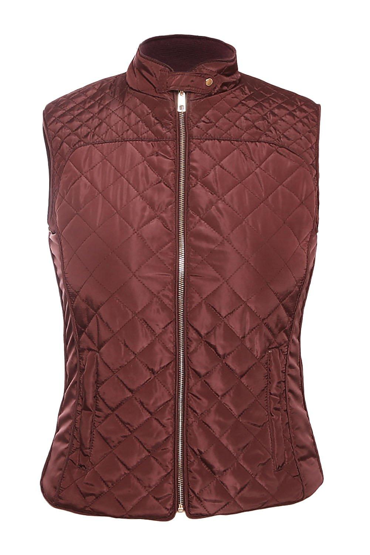 Burgundy High Neck Diamond Cotton Quilted Vest Coat
