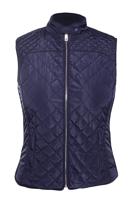 Blue High Neck Diamond Cotton Quilted Vest Coat