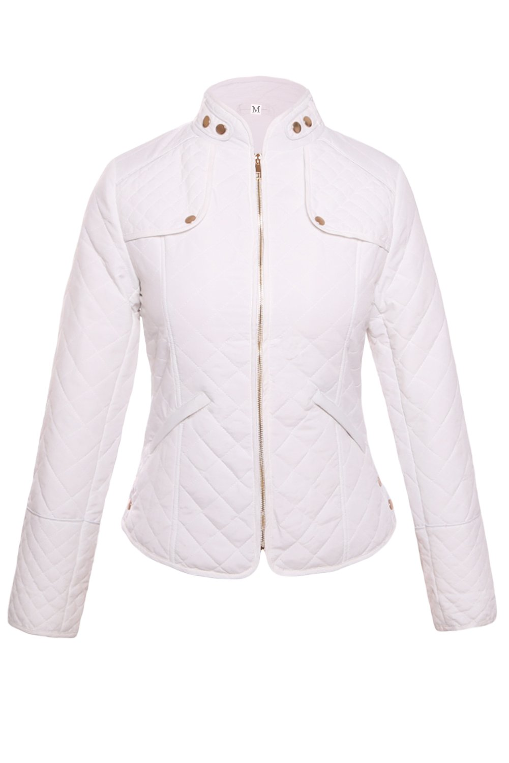 White Diamond Plaid Quilted Cotton Jacket
