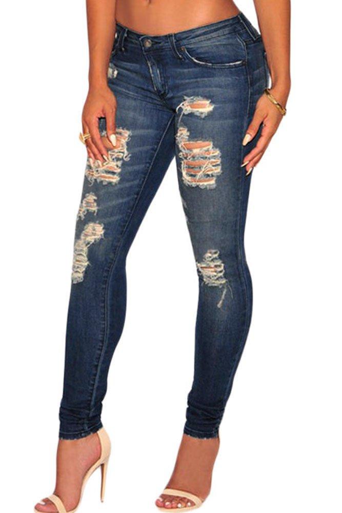 Dark Sandblast Wash Denim Destroyed Skinny Jeans