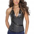 Denim 14 Steel Bone Steampunk Leather Corset with Thong