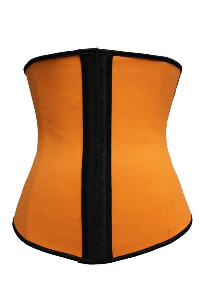Orange 4 Steel Bones Latex Under Bust Corset