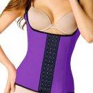 Purple Steel Boned Latex Waist Trainer Vest