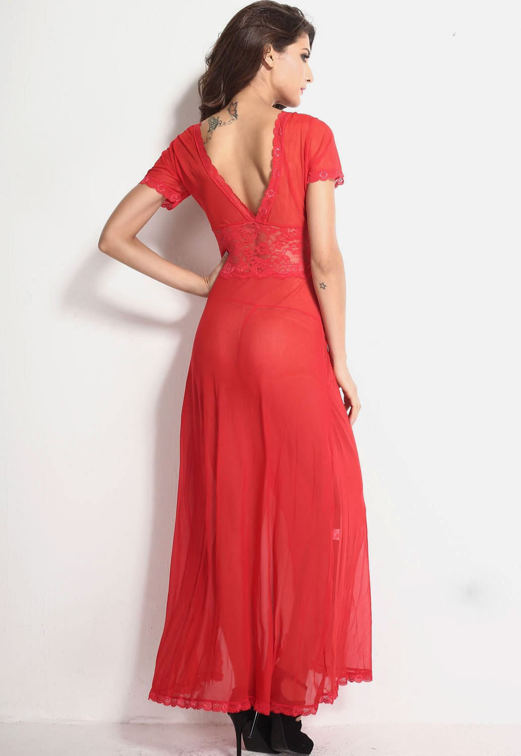Red Mesh and Lace V Neck Lingerie Gown
