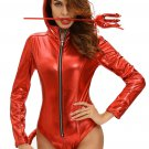 Metallic Look Devilish Hottie Long Tail Hooded Costume