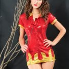 Shimmering Hot Devil Babe Sexy Costume in Fire Red