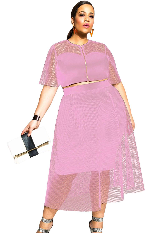 Pink Mesh Joint Plus Crop Top Skirt Set