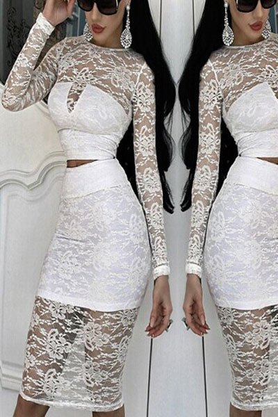 White Lace Overlay Long-sleeve Skirt Set
