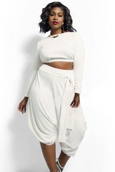 White Plus Size Crop Top Draped Convertible Pants Set