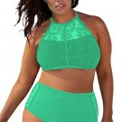 Green Patterned Mesh Insert Plus Size Swimwear