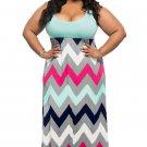 Plus Size Light Blue Top Multicolor Zigzag Maxi Dress