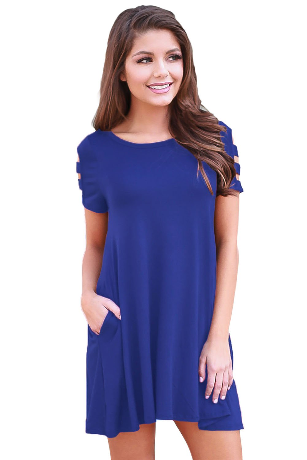 Blue Banded Short Sleeve Relaxing Casual Dress