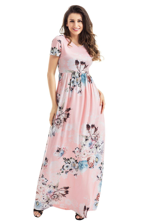 Pocket Design Short Sleeve Blush Floral Maxi Dress