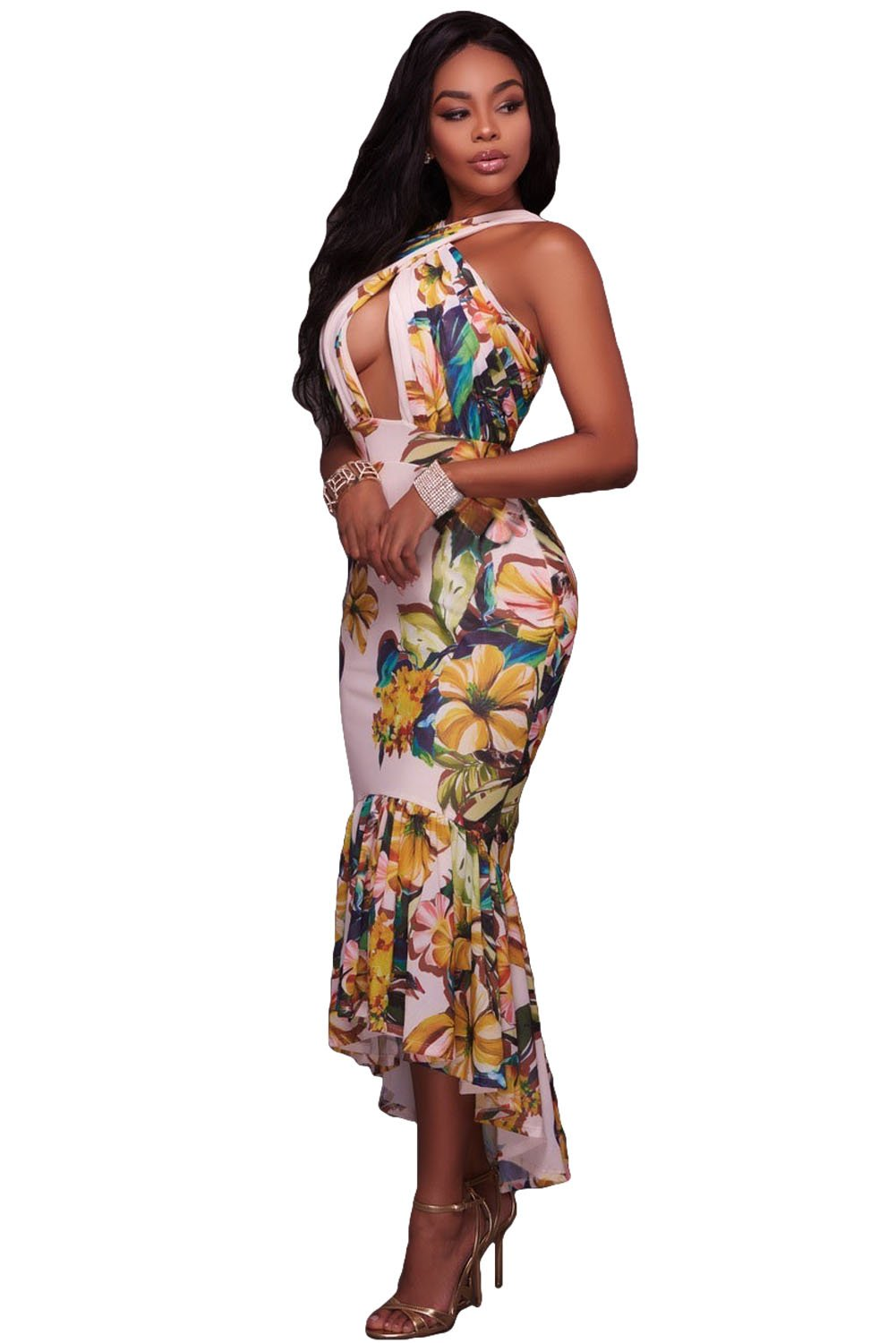 Crossed Neck Keyhole Front Floral Mermaid Dress