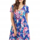 Royal Blue Pocket Design Summer Floral Shirt Dress