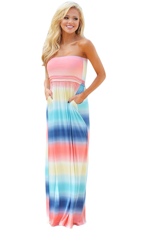 Multi Tie Dye Strapless Maxi Boho Dress