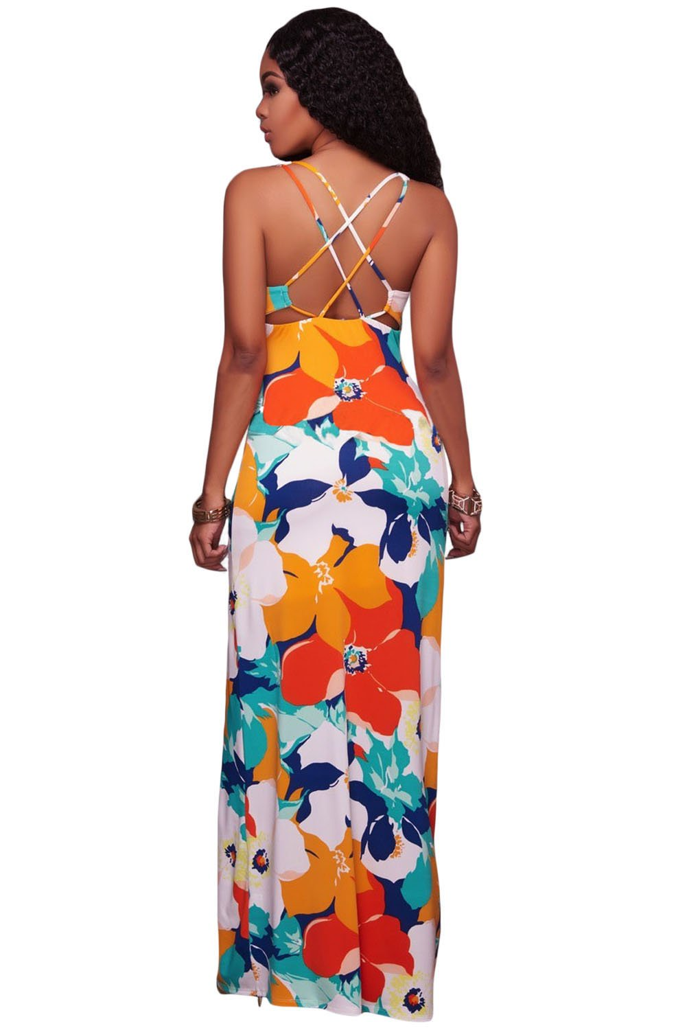 Orangish Multi-color Floral Print Crisscross Back Maxi Dress
