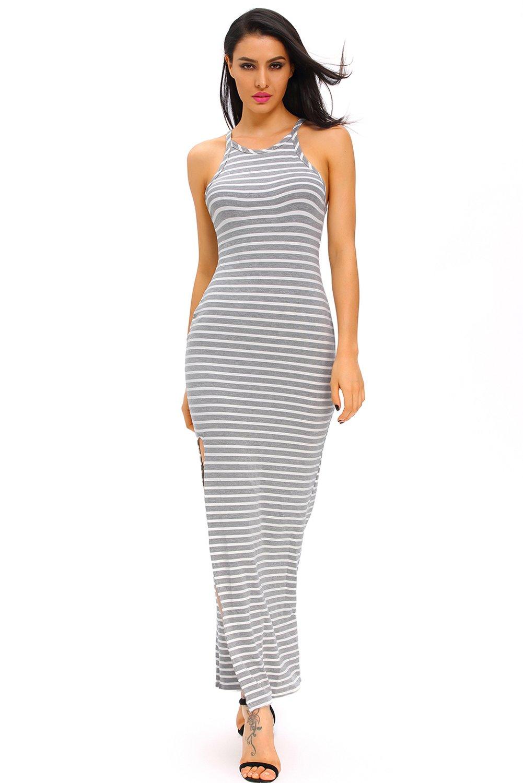 Gray White Stripes Maxi Dress with Side Slit