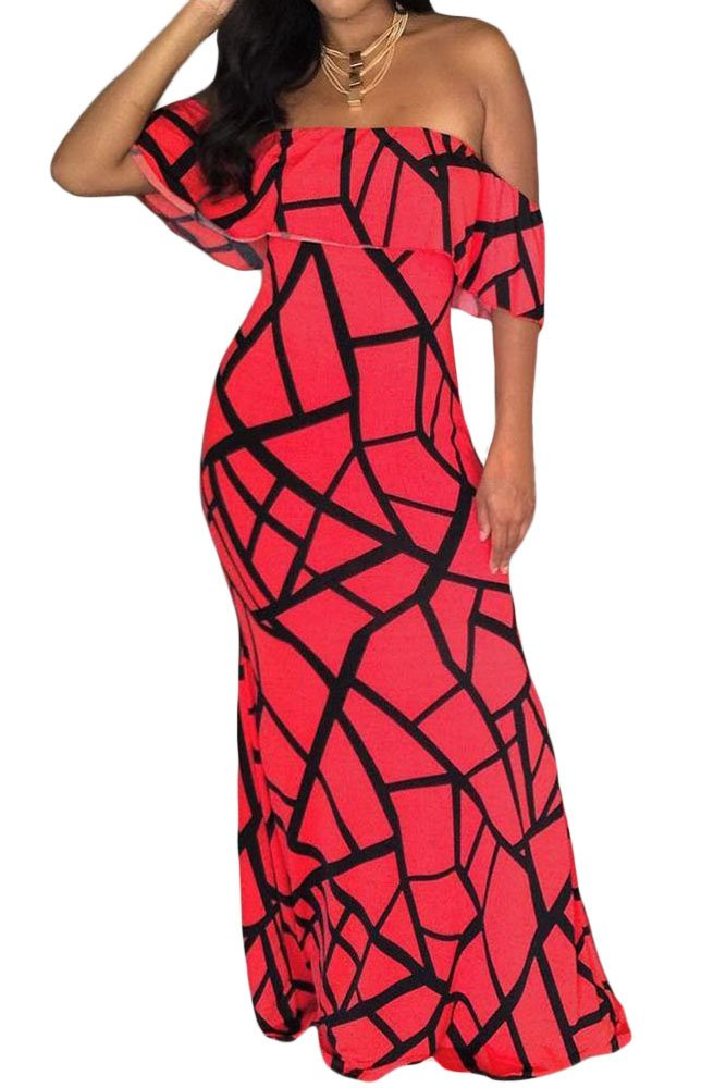 Rose Red Black Off-the-shoulder Maxi Dress