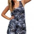 Monochrome Palm Tree Sheer Chiffon Beach Dress