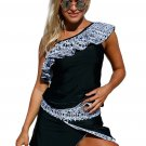 Tribal Geometry Ruffle One Shoulder Tankini Swimsuit
