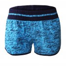 Blue Individual Handwriting Print Swim Shorts