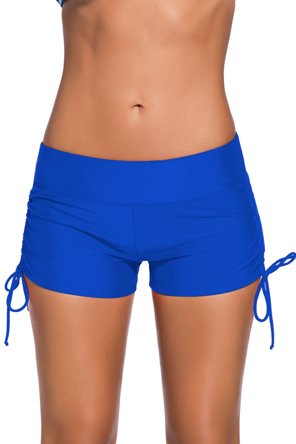 Womens Blue Adjustable Ties Swim Bottom Shorts